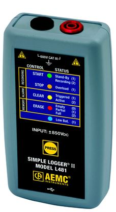 Picture of AEMC L481 1-Channel ±850V DC Voltage Simple Logger II